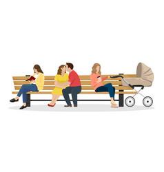 park bench a girl reads a book a couple vector image