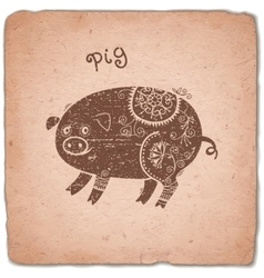 Pig Chinese Zodiac Sign Horoscope Vintage Card vector