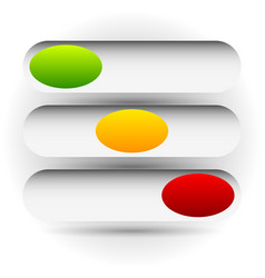 Power buttons switches with 3 states simple ui vector