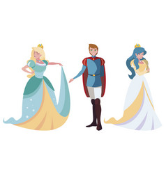 Prince charming and two princess tales vector