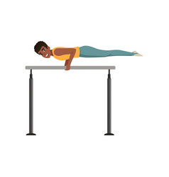 Professional gymnast training on parallel bars vector