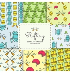 Rafting equipment seamless pattern collection vector