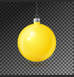 Realistic yellow christmas ball with silver ribbon vector