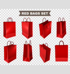 red shopping bags set vector image
