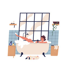 Relaxed woman taking bath surfing internet on vector