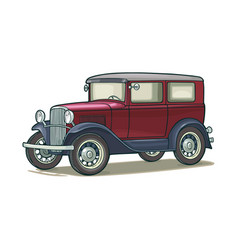 Retro car sedan side view vintage color flat vector