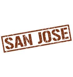 san jose brown square stamp vector image