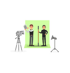 Screenwriter and actor working on film vector