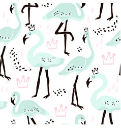 seamless pattern with mint flamingocrowns vector image