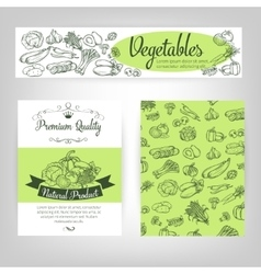 set banners with draw vegetables vector image
