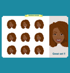 Set of black woman expressionbusinesswoman vector