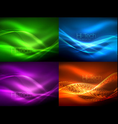Set of neon flowing waves vector