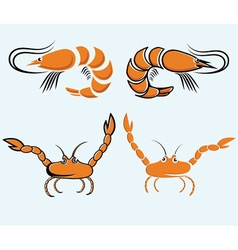 Set of shrimps and crabs vector
