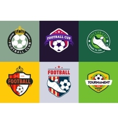 Set of vintage color football soccer championship vector image