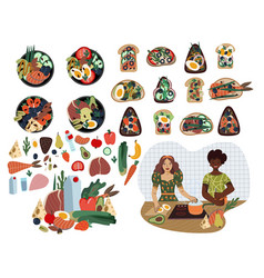 set sandwiches foods and poke bowls healthy vector image