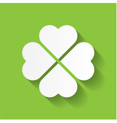 Shamrock - white four leaf clover icon good luck vector
