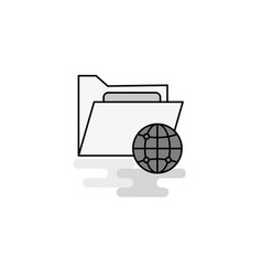 Shared folder web icon flat line filled gray icon vector