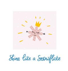 shine like snowflake winter christmas season card vector image