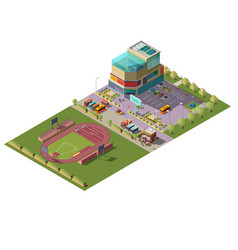 shopping center and stadium isometric vector image