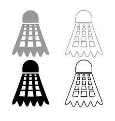 Shuttlecock icon outline set grey black color vector
