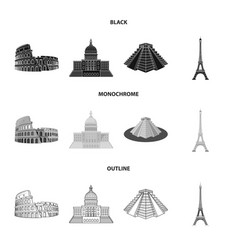 Sights of different countries blackmonochrome vector