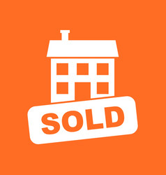 Sold house icon in flat style on orange background vector