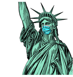 statue liberty in a mask coronavirus is a vector image