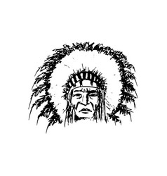 stylized cartoon sketch north american indian vector image