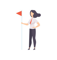 Successfull business woman standing with red flag vector