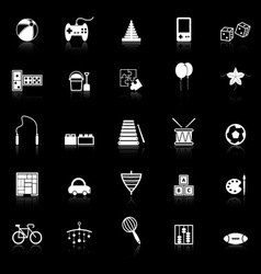 Toy icons with reflect on black background vector