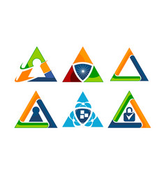 triangle security template set vector image