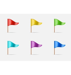 Triangular Waving Flag Set Icon or Logo in vector