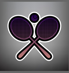 two tennis racket with ball sign violet vector image