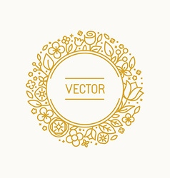 vintage frame in trendy linear frame for florist vector image