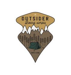vintage mountain camping scene logo adventure vector image