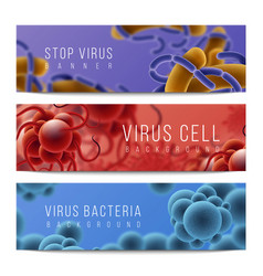 viruses and bacteria banners germs infection and vector image
