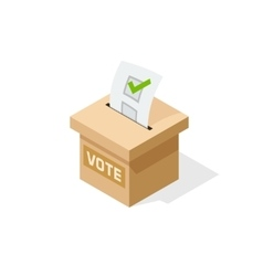 Voting box isometric with paper sheet of vector image