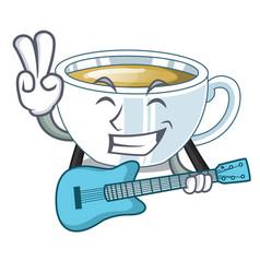 With guitar ginger tea in cartoon shape vector