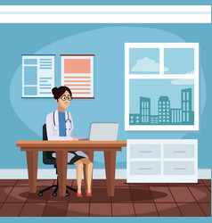 woman doctor in the office vector image
