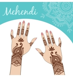Women hands manicure mehendi vector