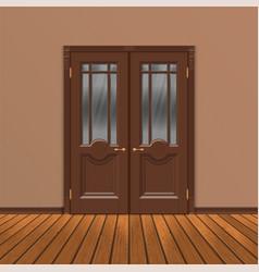 wooden double entrance door vector image