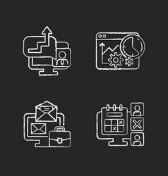 Work trackers chalk white icons set on dark vector
