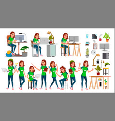 Young business woman set character vector