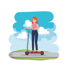 Young woman in folding scooter on road vector