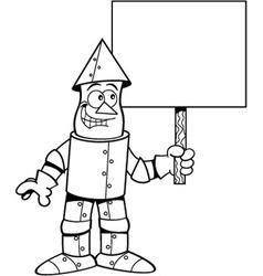 Cartoon tin man holding a sign vector image vector image