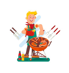cheerful man cooking steak on the barbecue grill vector image