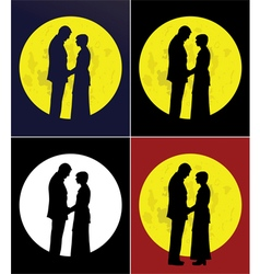 Couple and full moon vector image