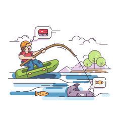 Fisherman in rubber boat vector