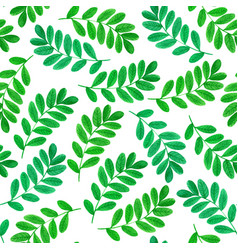 Floral seamless pattern with green leaves vector