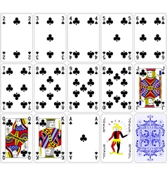 Poker cards club set four color classic design vector image